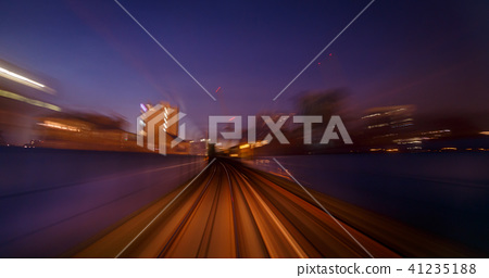 Motion blur railway tunnel 41235188