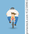 Father and daughter on bicycle illustration 41238961