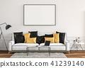 mock up poster frame in interior room , 3D render 41239140