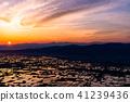 """""""จังหวัดโทะยะมะ"""" มุมมองตอนเช้าของนาข้าวและ Tonami ธรรมดาของสีน้ำ """"จาก Ouyoyama"""" 41239436"""