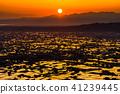 """""""富山縣""""稻田的早晨景觀和水彩的礪波平原""""從Ouyoyama"""" 41239445"""