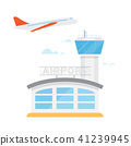 Airport control tower and flying civil airplane 41239945