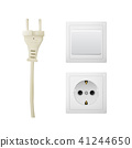 Electrical adapter with outlet and switch. 41244650