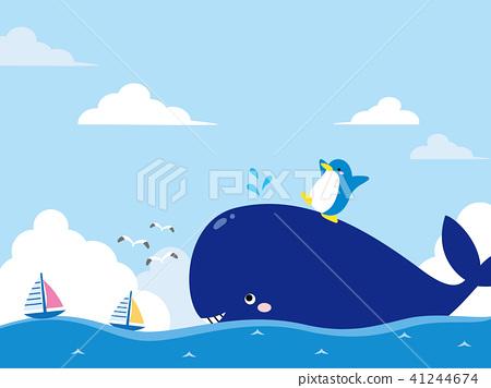 鲸鱼 企鹅 海洋 41244674