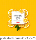 Summer sale banner with sliced orange pieces, leaves and dotted pattern. Yellow background - 41245575