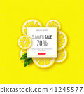 Summer sale banner with sliced lemon pieces, leaves and dotted pattern. Yellow background - template 41245577