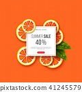 Summer sale banner with sliced grapefruit pieces, leaves and dotted pattern. Orange background - 41245579