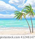 Summer Background  with Sea and Palm Trees 41246147