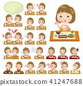 Straight bangs hair pink blouse women_Meal 41247688