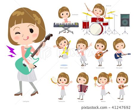Straight bangs hair pink blouse women_pop music 41247692