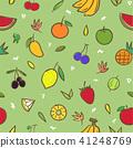 Mix cute fruits seamless pattern background 41248769