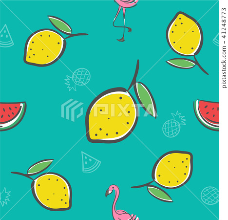 Lemon fruits seamless pattern background 41248773