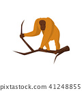 Orangutan standing on wooden branch. Large monkey with orange fur and brown face. Flat vector icon 41248855