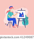 oung Woman Painter Drawing Picture on Canvas 41249087