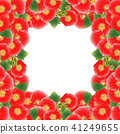Red Alcea Rosea Border - hollyhocks 41249655