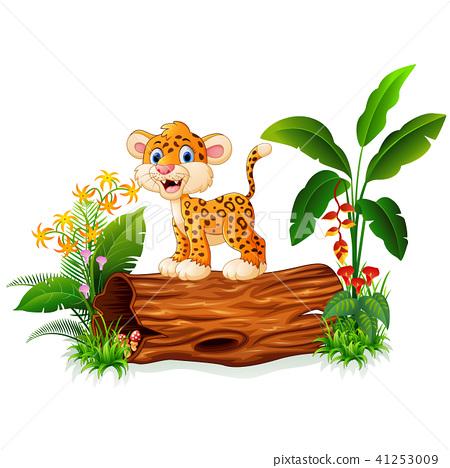 Cartoon baby cheetah on tree trunk  41253009
