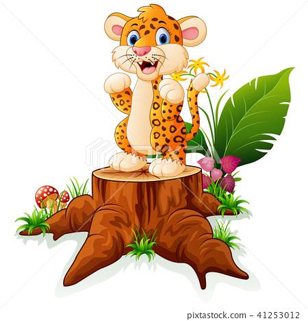 Cartoon cheetah standing on tree stump  41253012
