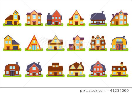 Suburban Real Estate Houses Set 41254000