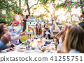Bride and groom with guests at wedding reception outside in the backyard. 41255751