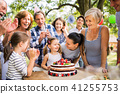 Family celebration or a garden party outside in the backyard. 41255753