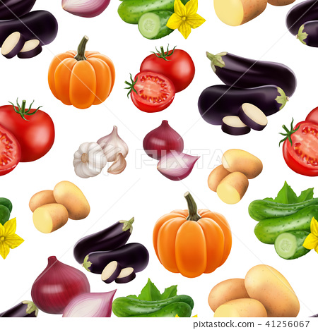 Seamless pattern with vegetables. 41256067