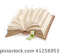 Old open book spread with blank paper 41256953