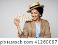 Beauty profile portrait of beautiful mixed race woman wearing chocker 41260097