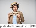 Beauty profile portrait of beautiful mixed race woman wearing chocker 41260099