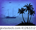 Sea Landscape with Palm and Ship 41262212