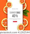 Summer sale banner with sliced grapefruit pieces, leaves and dotted pattern. Orange background - 41262544