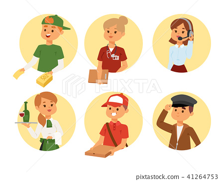 People part-time job professions vector set characters temporary job recruitment concept. Different 41264753