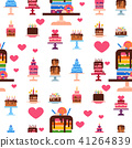 Wedding or Birthday pie cakes flat sweets dessert bakery ceremony delicious seamless pattern 41264839