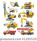 Excavator for construction vector digger or bulldozer excavating with shovel and excavation 41265520