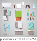 Bathroom interior vector bathtub and shower with mirror furniture in bathhouse illustration set of 41265754