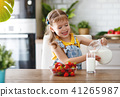 happy baby girl eating strawberries with milk 41265987