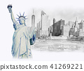 Statue Liberty  in Manhattan urban, painting 41269221