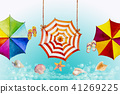 Hello summer watercolor painting colorful umbrella 41269225