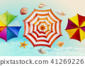 Hello summer watercolor painting colorful umbrella 41269226
