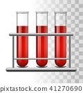 Medical test tubes with blood in rack. Transparent glass flasks. Vector illustration. 41270690