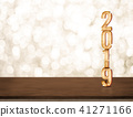 Happy New Year 2019 gold glossy with sparkling 41271166