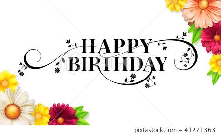 Happy birthday floral lettering design. Decorative 41271363