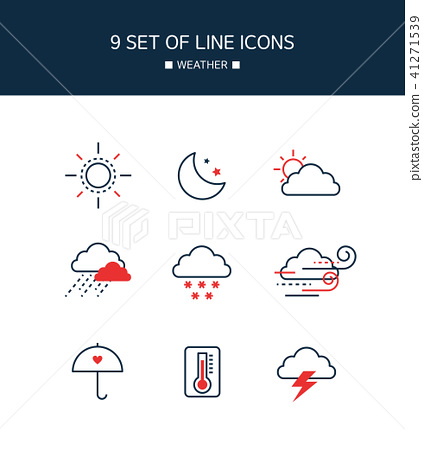 Red Point Weather Line Icon 41271539