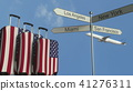 Travel baggage featuring flag of the United States, airplane and city sign post. American tourism 41276311