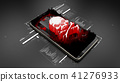 Red pirate skull on smartphone screen, mobile hack 41276933