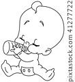 outlined baby with bottle 41277722