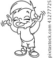outlined kid making a face 41277725