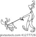 Outlined man walking dog 41277726
