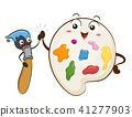 Mascot Paint Brush Color Palette Illustration 41277903