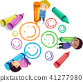 Stickman Kids Crayon Draw Smiley Illustration 41277980