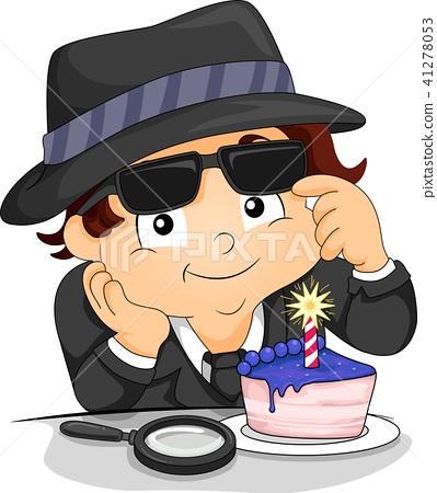 Peachy Kid Boy Spy Cup Cake Birthday Illustration Stock Illustration Birthday Cards Printable Giouspongecafe Filternl